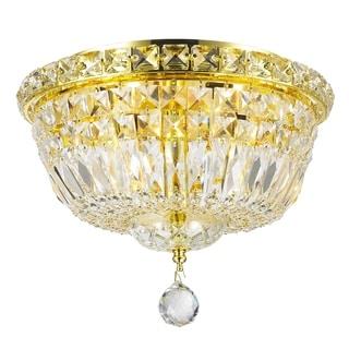 4-light Empire Full Lead Crystal Gold Finish Flush Mount Ceiling-light