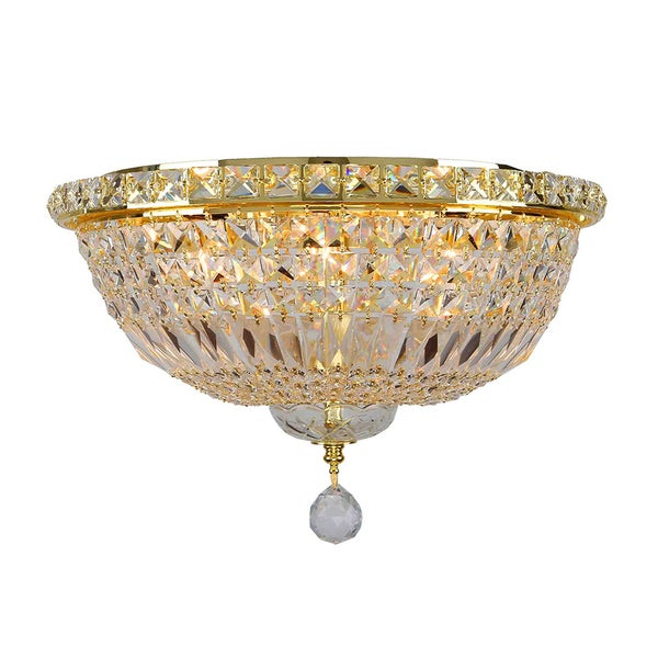 French Empire Six Light Full Lead Crystal Gold Finish Flush Mount Ceiling Light Free Shipping