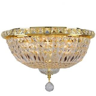 Empire 6-light Full Lead Crystal Gold Finish Flush Mount Ceiling-light