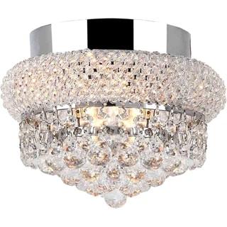 Empire 3-light Full Lead Crystal Chrome Finish Flush Mount Ceiling-light