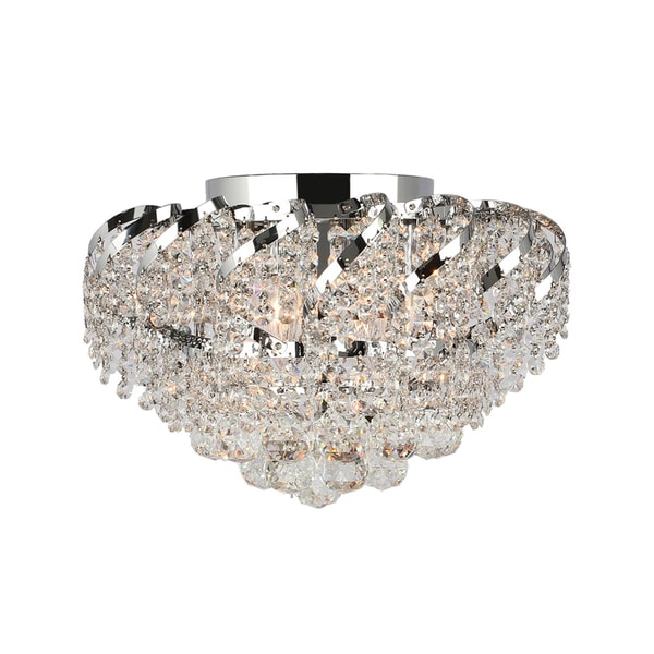 French Empire Six Light Full Lead Crystal Chrome Finish Six Inch Round Flush Mount Ceiling Light