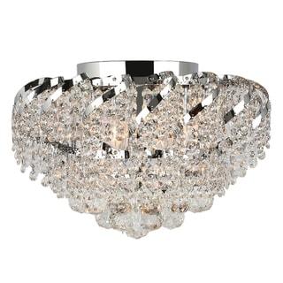 French Empire 6-light Full Lead Crystal Chrome Finish 16-inch Round Flush Mount Ceiling Light