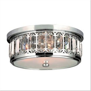 Contemporary 4-light Faceted Crystal Chrome Finish 14-inch Flush Mount Ceiling Light