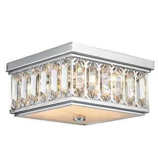 Contemporary 4-light Chrome Finish and Faceted Crystal 10-inch Square Flush Mount Ceiling Light