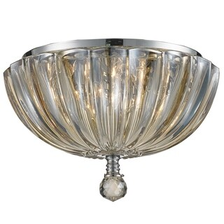 Contemporary 3-light Chrome Finish and Faceted Crystal 10-inch Round Flush Mount Ceiling Light