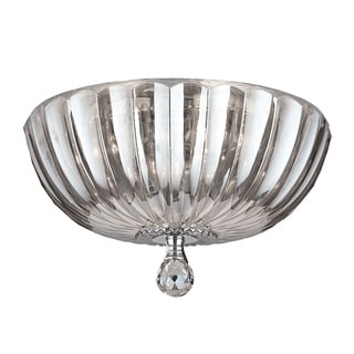 Contemporary 4-light Chrome Finish and Clear Crystal 14-inch Bowl Flush Mount Ceiling Light