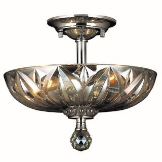 Sparkling 3-light Full Lead Golden Teak Crystal Chrome Finish Semi Flush Mount Ceiling-light