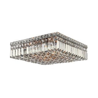 Sparkling 6-light Full Lead Crystal Chrome Finish Flush Mount Ceiling-light