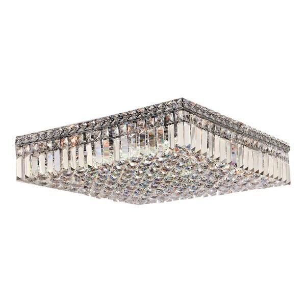 Sparkling 12-light Crystal Chrome Finish 20-inch Square Large Flush Mount Ceiling Light