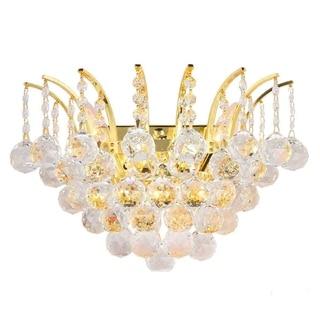 Empire 3-light Full Lead Crystal Gold Finish Wall Sconce-light