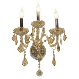 Venetian Italian Style 3-light Chrome Finish and Golden Teak Crystal Candle Wall Sconce