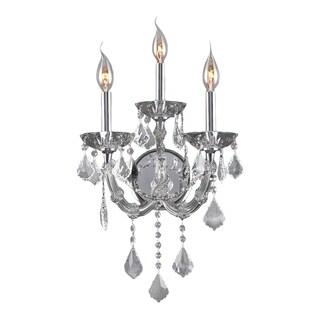 Glamorous 3-light Full Lead Crystal Chrome Finish Wall Sconce-light