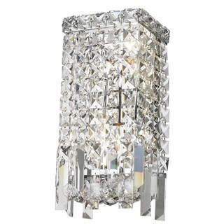 Sparkling 2-light Full Lead Crystal Chrome Finish Wall Sconce-light