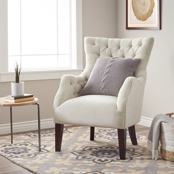 Havenside Home Hannah Off-White Upholstered Solid Hardwood Wingback Chair 15343822