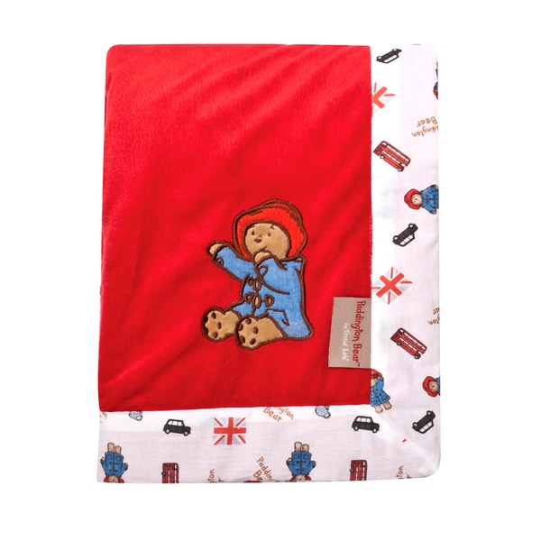 Trend Lab Paddington Bear Framed Red Velour Receiving Blanket