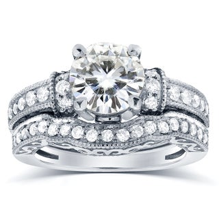 Annello 14k White Gold Moissanite and 3/5 ct TDW Antique Diamond Bridal Rings Set (G-H, I1-I2)