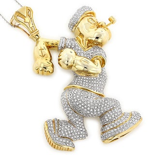 Luxurman Goldplated Sterling Silver 4 1/8ct TDW Diamond Popeye Necklace (I-J, I1-I2)