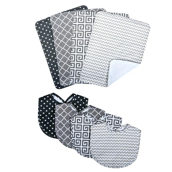 Trend Lab Ombre Gray Bouquet Bib and Burp Cloth Set
