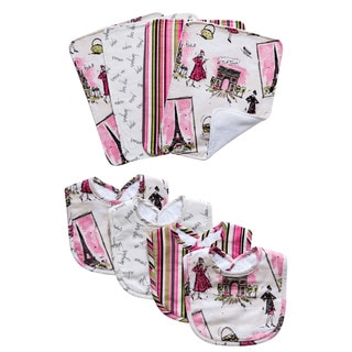 Trend Lab Waverly Tres Chic Bouquet Bib and Burp Cloth Set
