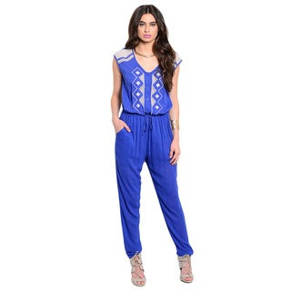 Shop The Trends Women's Sleeveless Tribal Embroidered Blouson Bodice Jumpsuit