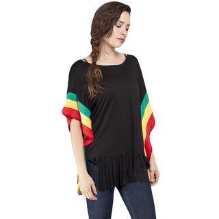 Women's Rasta Short Sleeve Fringe Trim Top (Nepal)