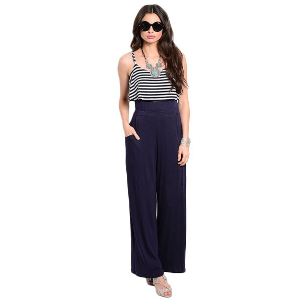 Shop The Trends Women's Striped Blouson Bodice Jumpsuit