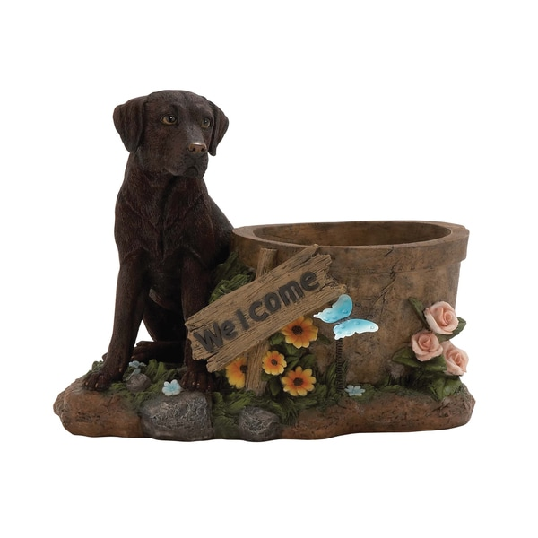 10-inch Polystone Dog Planter