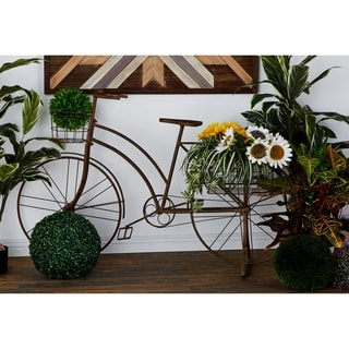 Farmhouse 39 x 63 Inch Brown Standing Bicycle Planter by Studio 350