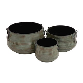 Metal Planter with Handles (Set of 3)