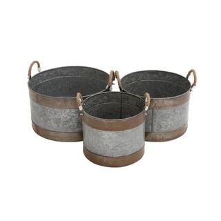 Round Metal Galvanized Planter (Set of 3)