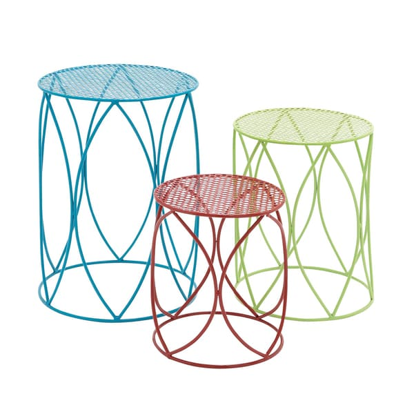 Multi-colored 15-inch Metal Plant Stand (Set of 3)