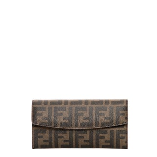 Fendi Zucca Flap-over Continental Wallet