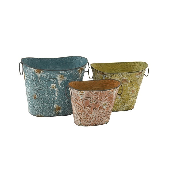 Multi-colored Pastel Metal Planter (Set of 3)