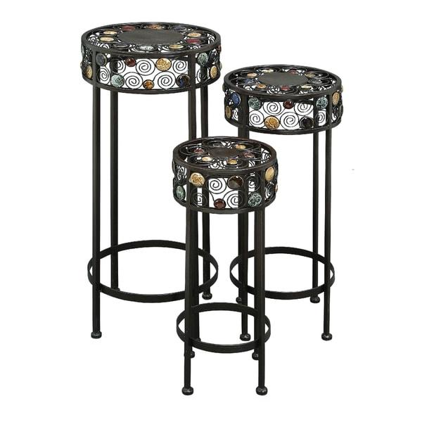 20 Inch Metal Ceramic Pedestal Plant Stand Set Of 3