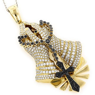Luxurman 14k Gold 6 1/3ct TDW Black and White Diamond Praying Hands Necklace (H-I, SI1-SI2)