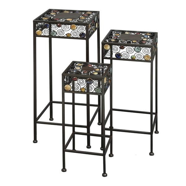 20 Inch Metal Ceramic Plant Stand Set Of 3 17255523