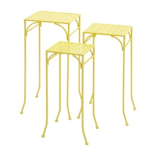 24-inch Yellow Metal Plant Stand (Set of 3)