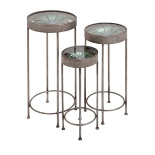 22-inch Metal Glass Plant Stand (Set of 3)