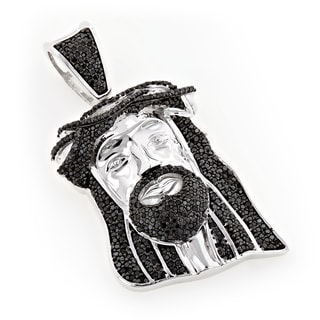Luxurman 10k Gold 7/8ct TDW Black Diamond Jesus Face Mini Necklace
