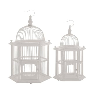 22-inch White Wood Bird Cage (Set of 2)