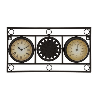 Metal 11-inch Clock Thermometer