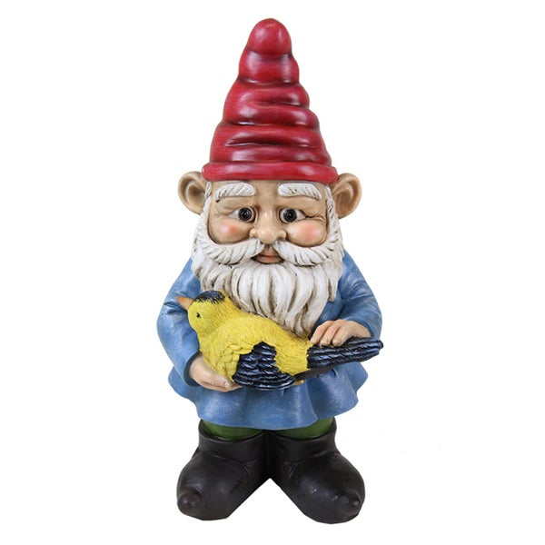 13-inch Multi-color Gnome Holding Bird