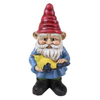 13-inch Multi-color Gnome Holding Bird