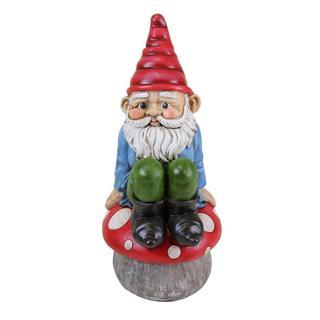 13-inch Multi-color Gnome Sitting on Mushroom