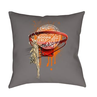 Thumbprintz Basketball Words in Hoop Decorative Pillow