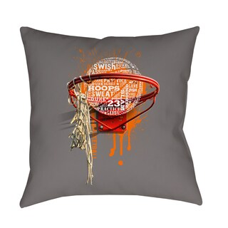 Thumbprintz Basketball Words in Hoop Indoor/ Outdoor Pillow