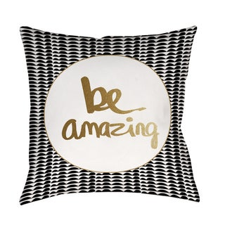 Thumbprintz Be Amazing Black and Gold Indoor/ Outdoor Pillow