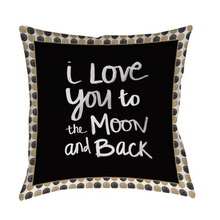 Thumbprintz 'To the Moon' Gold and Black Decorative Pillow