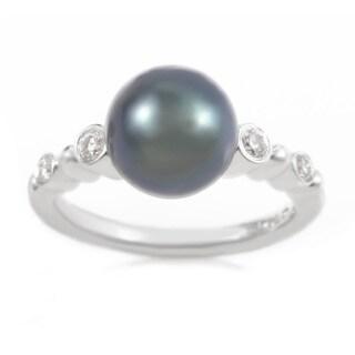 Mikimoto 18k White Gold Black Pearl and 1/5ct TDW Diamond Ring (Size 5.75)