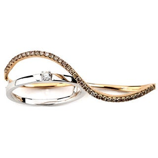 Diamonds for a Cure Two-tone 18k Gold 1/3ct TDW Diamond Double Finger Wave Ring